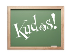 Kudos! Green Chalk Board Series on a White Background.