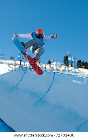 KUEHTAI, AUSTRIA - JANUARY 14: Victor Habermacher from France in action at YOG 2012, Youth Olympic Games Innsbruck 2012, SNOWBOARD Halfpipe in Kuehtai, Austria on January 14, 2012.