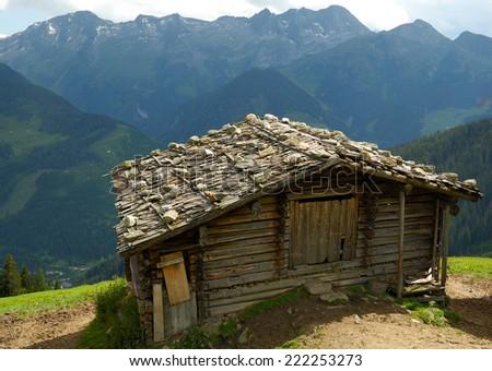 KUFSTEIN,AUSTRIA  - CIRCA JUNE 2007 - Old wooden building in mountain, Austria,near city of Kufstein