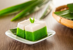 Kuih Talam made of pandan leaf and coconut - Malaysia traditional snacks from Peranakan Culture