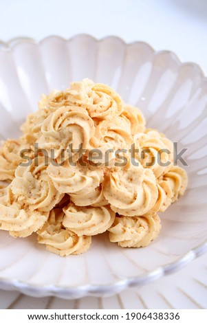 Kukis Sagu Keju or Cheese Sago Cookies is one Favorite Cookies in Indonesia for Christmas or Lebaran. White Concept of Bakery,  Сток-фото ©