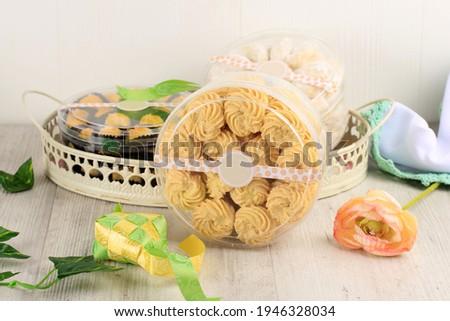 Kukis Sagu Keju or Cheese Sago Cookies is one Favorite Cookies in Indonesia for Christmas or Lebaran. Ready to Sale On Cookie Jar (Toples) Сток-фото ©