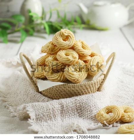 Kukis Sagu Keju or Cheese Sago cookies is one favorite cookies in Indonesia, usually served at Lebaran or Ied Fitr Сток-фото ©