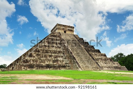 Kukulkan pyramid in Chichen Itza, Mexico - stock photo