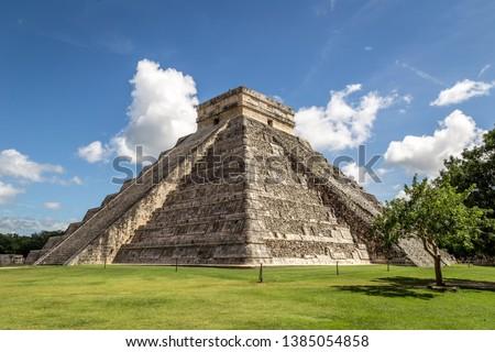 Kukulkan pyramid in Chichen Itza on the Yucatan Peninsula, Mexico, America