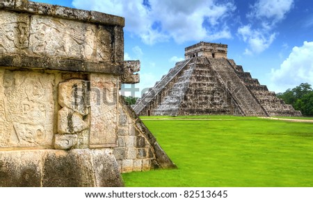 Kukulkan pyramid of Chichen Itza in Mexico, one of 7 New Wonders - stock photo