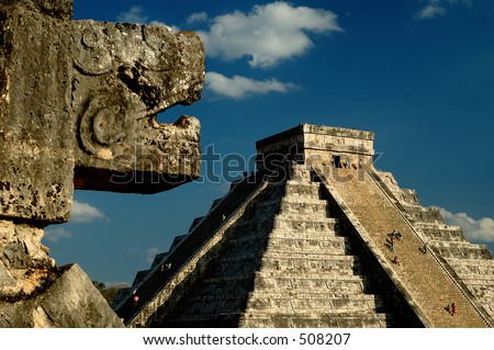 Kukulkan's shadow on the steps of the Pyramid during spring equinox,  Chichen Itza, Yucatan Mexico