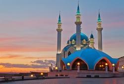 Kul Sharif mosque in Kazan Kremlin at sunset. Kazan. Russia.