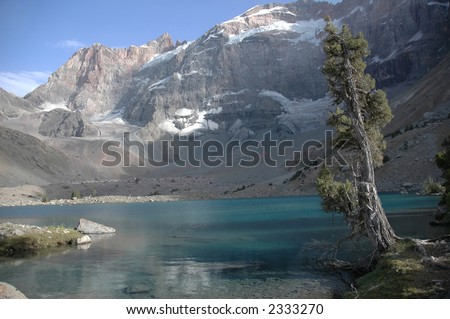 Kulikalon wall and Adamtash peak by cool lake. Tajikistan.