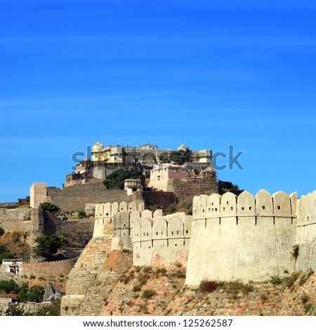 kumbhalgarh fort in rajasthan india - stock photo