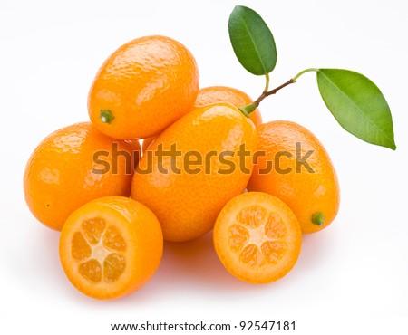 Kumquat citrus on a white background