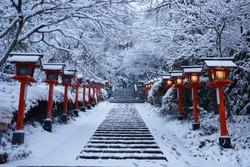 Kurama temple near kyoto with winter snow