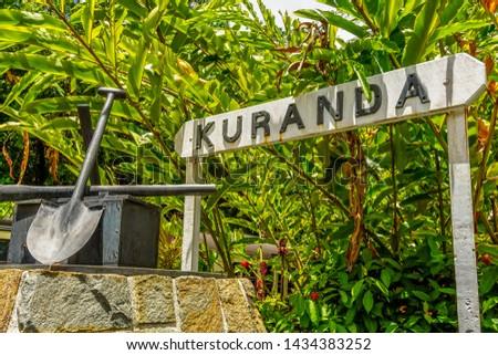 Kuranda Sign in Kuranda Train Station, Queensland, Australia. Exploring Kuranda Scenic Railway through the world's oldest living tropical rainforest.
