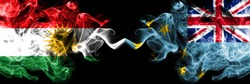 Kurdistan vs Tuvalu, Tuvaluan smoke flags placed side by side. Thick colored silky smoke flags of Kurds and Tuvalu, Tuvaluan