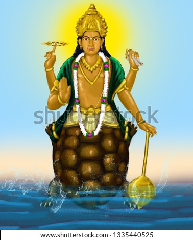 Kurma appears at a time of crisis to restore the cosmic equilibrium.His iconography is either a tortoise, or more commonly as half man-half tortoise.