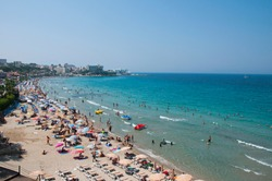 Kusadasi Beach in Aydin City in Aegean Coast of Turkey
