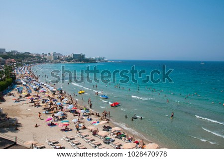 Kusadasi Beach in Aydin City in Aegean Coast of Turkey