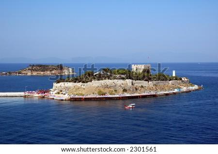 Kusadasi island (Bird island) off the coast of Turkey