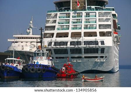 Kusadasi port - small and big boat
