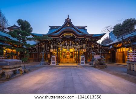 Kushida Shrine in Hakata, Fukuoka, Japan. - Shutterstock ID 1041013558