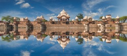 Kusum Sarovar. This lake is one of the most visited places in Mathura. Next to it there are numerous temples and ashrams. Uttar Pradesh, India.