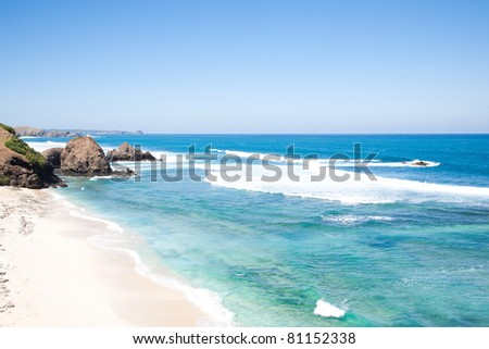 Kuta Beach, Lombok, Indonesia. Paradise place for surfing and relaxing