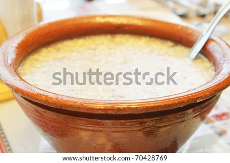Kutya, Ukrainian traditional dish. Eaten usually at New Year celebration, it is thought to bring prosperity and fertility. - stock photo