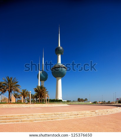 KUWAIT CITY, KUWAIT - JULY 19 - Kuwait Towers were officially inaugurated on February 26, 1977 and are rated as a landmark and symbol of modern Kuwait. Picture taken on July 19, 2010.