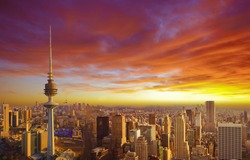 Kuwait cityscape during the sunset