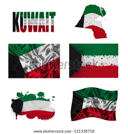 Kuwait flag and map in different styles in different textures