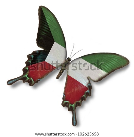 Kuwait flag on butterfly isolated on white