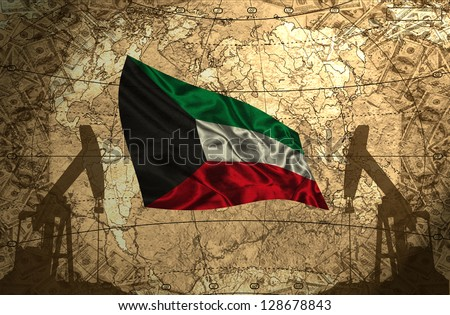 Kuwait flag on the background of the world map with oil derricks and money - stock photo