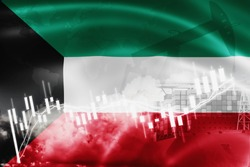 Kuwait flag, stock market, exchange economy and Trade, oil production, container ship in export and import business and logistics.
