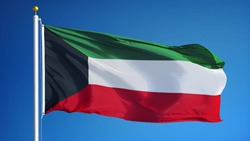 Kuwait flag waving against clean blue sky, close up, isolated with clipping path mask alpha channel transparency