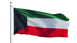 Kuwait flag waving on white background, close up, isolated with clipping path mask alpha channel transparency
