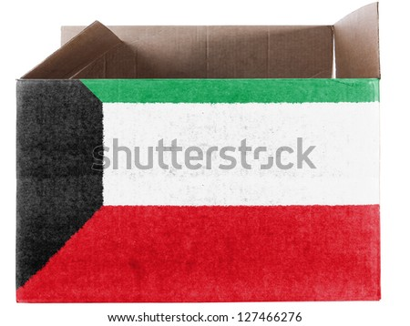 Kuwait. Kuwaiti flag  painted on carton box or package