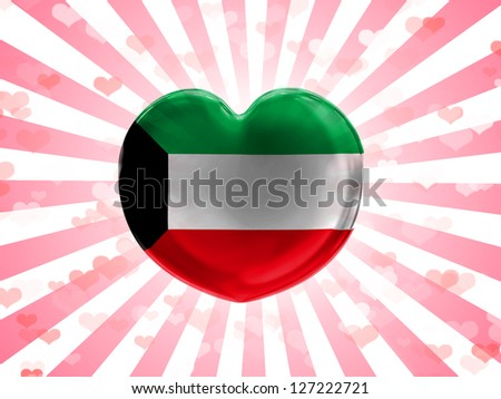 Kuwait. Kuwaiti flag  painted on glass heart on stripped background
