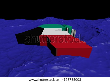 Kuwait map flag in abstract ocean illustration - stock photo