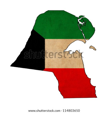 Kuwait map on Kuwait flag drawing ,grunge and retro flag series