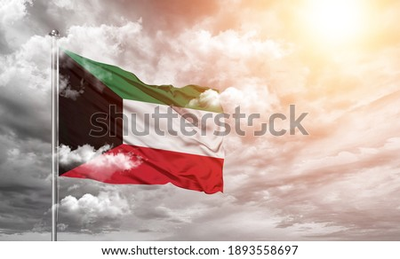 Kuwait national flag cloth fabric on cloud background