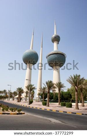 Kuwait Towers in daytime - stock photo