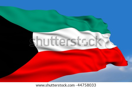 Kuwaiti flag waving on wind