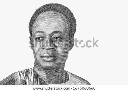 Kwame Nkrumah (1909 - 1972). First President of Ghana, Portrait from Ghana 2 Cedis 2015 Banknotes.