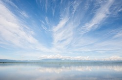 Kwan Phayao,Phayao lake, locate at  Phayao province, Northern Thailand, This image is shot with CPL filter, Photo shot with wide angle lens.