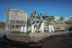 Kyiv Founders Monument Fountain at Independence Square - Kiev, Ukraine