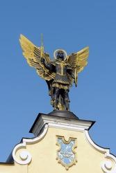 Kyiv patron archangel Michael sculpture on Maidan square in Ukraine