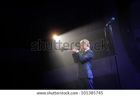 KYIV, UKRAINE - APR 03: Trumpeter Chris Botti during his solo concert on April 03, 2012 in Kyiv, Ukraine