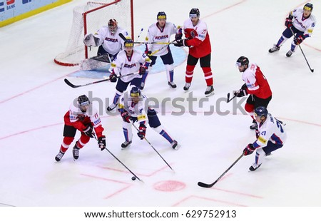 KYIV, UKRAINE - APRIL 27, 2017: IIHF 2017 Ice Hockey World Championship Div 1 Group A game Austria (Red jersey) v South Korea (White jersey) at Palace of Sports in Kyiv, Ukraine #629752913