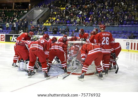 KYIV, UKRAINE - APRIL 20: Poland players cheer each other up during IIHF Ice-hockey World Championship DIV I Group B game against Ukraine on April 20, 2011 in Kyiv, Ukraine