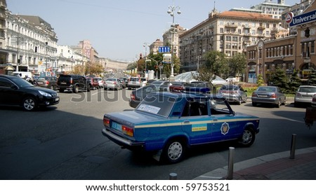 KYIV, UKRAINE - AUGUST 3: A police car is stopped at the west end of Khreshchatyk street on August 3rd, 2010 in Kyiv, Ukraine. There is little funding available to upgrade police vehicles in Ukraine.